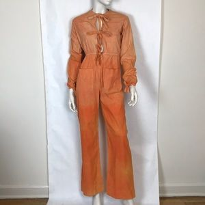 Vtg 70s orange tie dye boiler suit coveralls XS